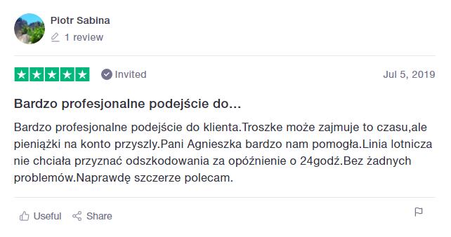 ClaimFlights Opinia z Piotr